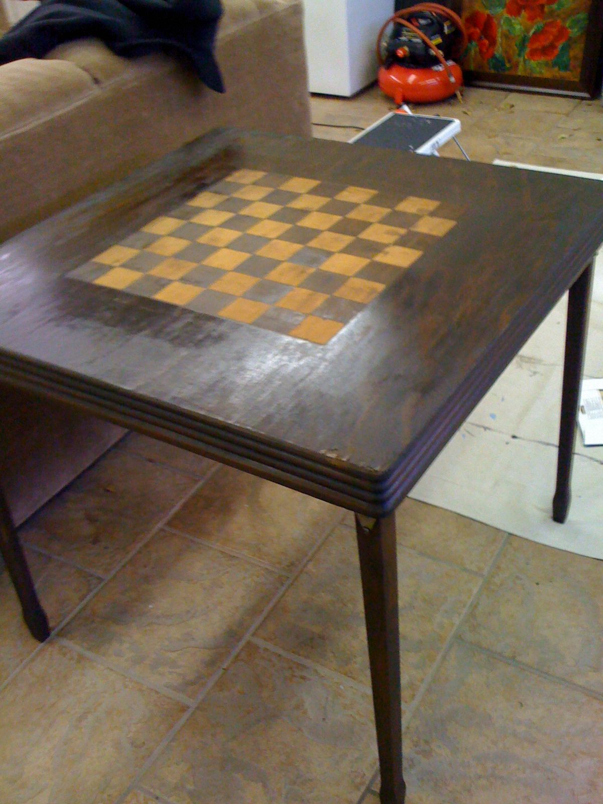 Stained Wooden Card Table (with Checkerboard Design)