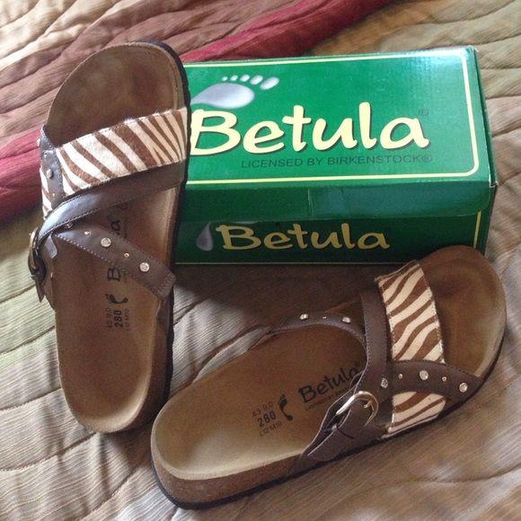 f4a7d434c6a Betula Julie animal print   rhinestone cork sandal Gorgeous brown zebra  print hair and rhinestone sandal from Betula (Birkenstock).