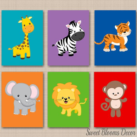 Jungle Animals Nursery Wall Art Safari Decor Neutral