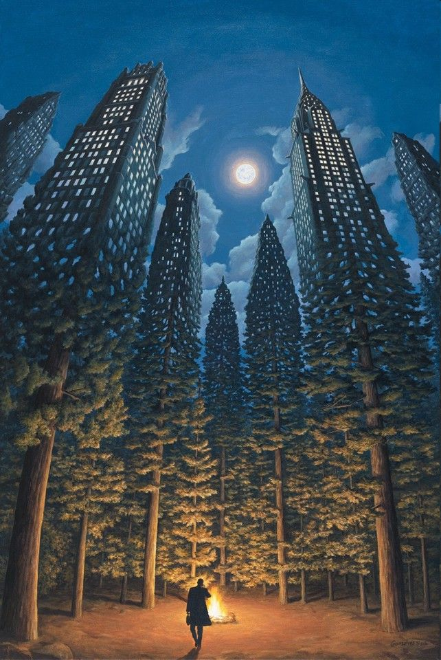 Rob Gonsalves Arboreal Office Surrealism Painting Magical