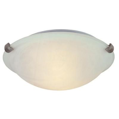 A little more substantial for the front door but doesnt compete with the fan or chandelier hampton bay 2 light flush mount pewter ceiling light hb1313 12