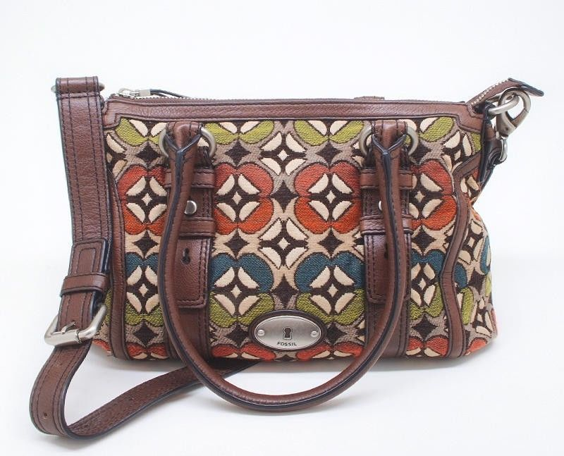 Fossil Maddox Key Per Multi Color Pattern Tapestry Fabric Tote Crossbody Bag Ebay