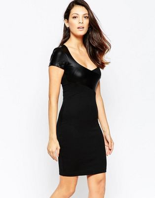 493ea20a3b7 French Connection Midnight Short Sleeved Contrast PU Bodycon Dress ...