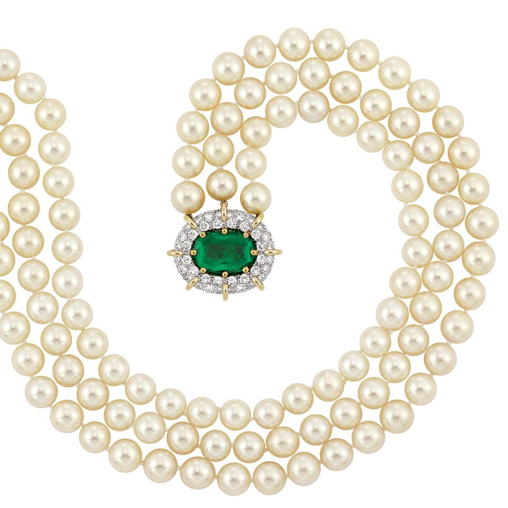 Triple Strand Cultured Pearl Necklace With Emerald And