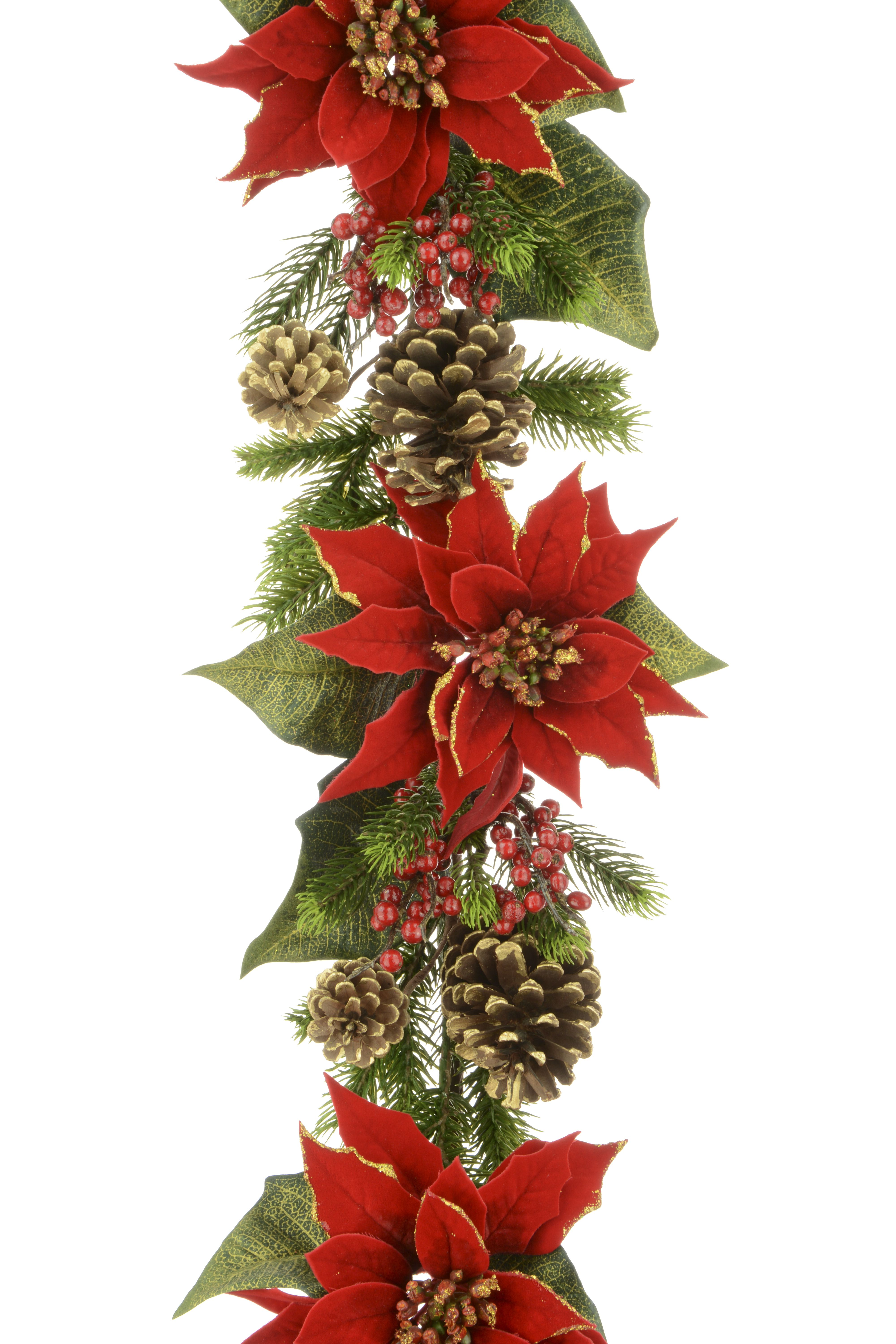Majestic Red Poinsettia Garland Navidad Christmas Swags
