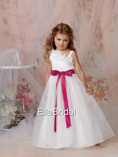 9da8ed57e06 Ruffles Red Sash Strapless Flower Girls  Dresses White Organza Sleeveless  Simple Junior Girls  Formal
