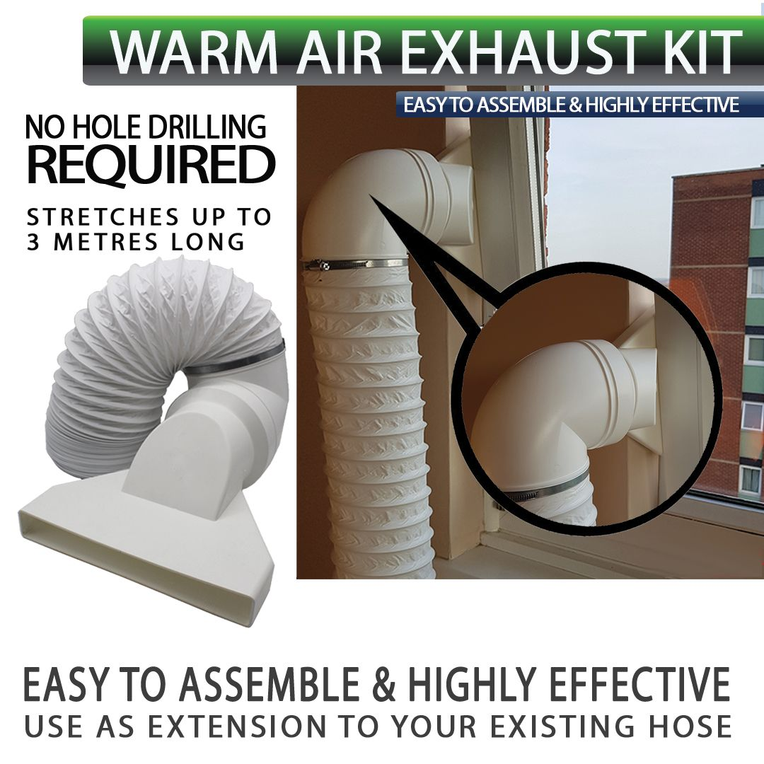 Warm Air Exhaust Kit 3 Metres Long No Hole Drilling Required Allows You To Use Your Tumble Dryer Throug Portable Air Conditioning Portable Ac Tumble Dryer