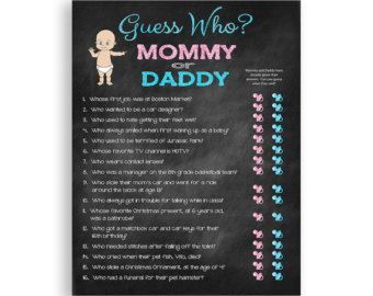 Baby Shower Game Guess Who Couples Shower Game By TheVintagePen