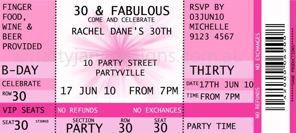 Concert Ticket Invitations Template Free | Birthday ideas ...