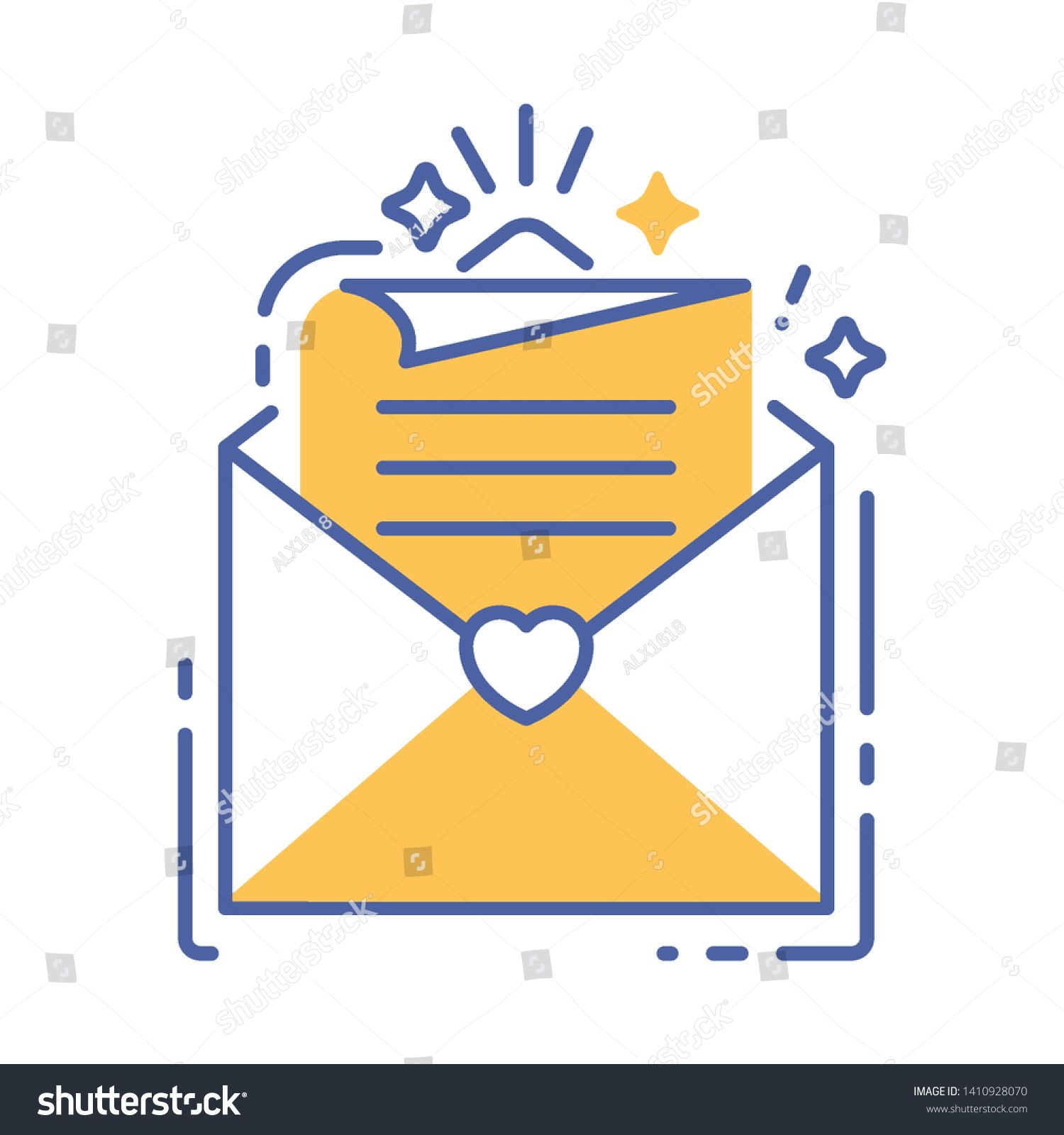 envelope with letter line color icon