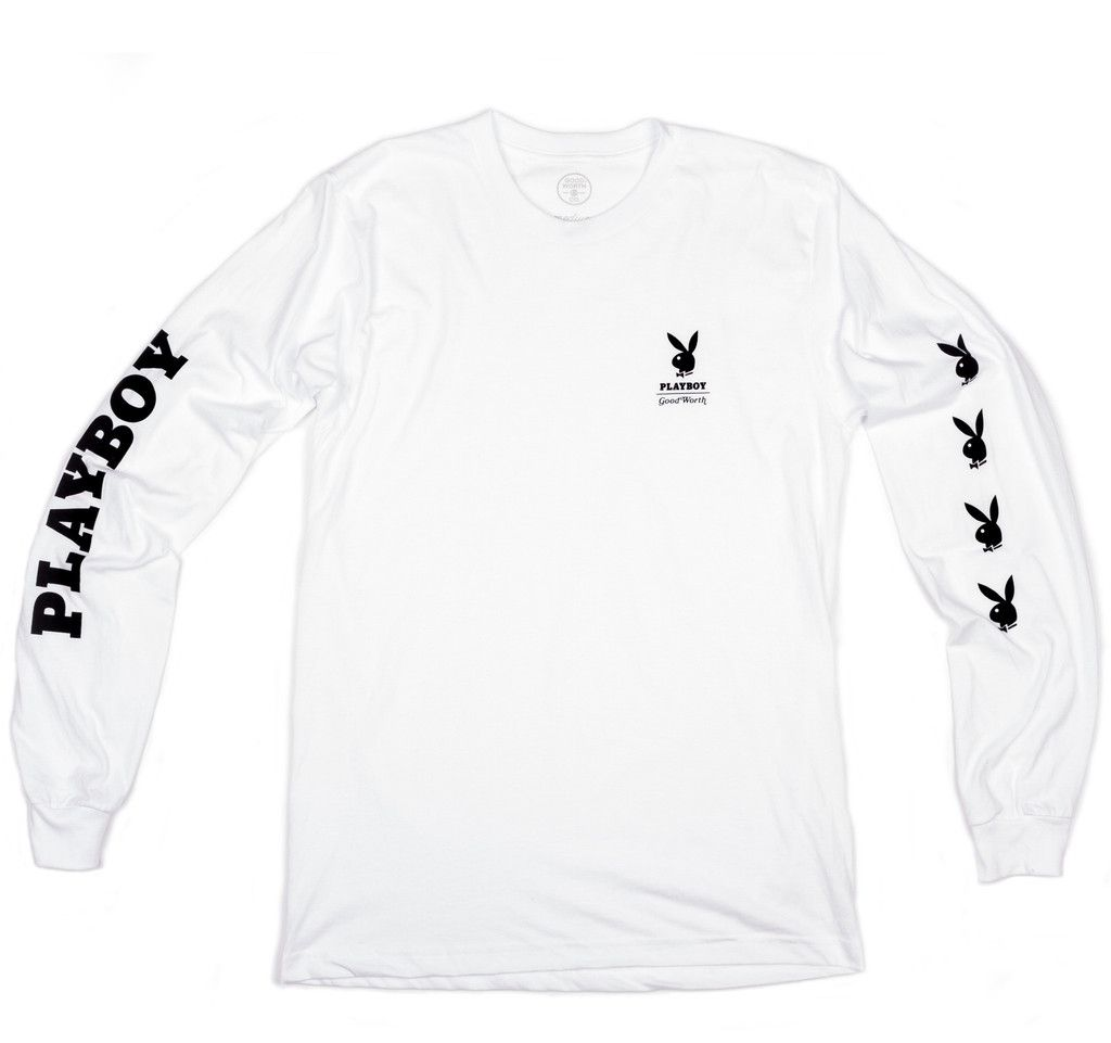 Good Worth x Playboy Long Sleeve Tee - White | Licence Mens for ...