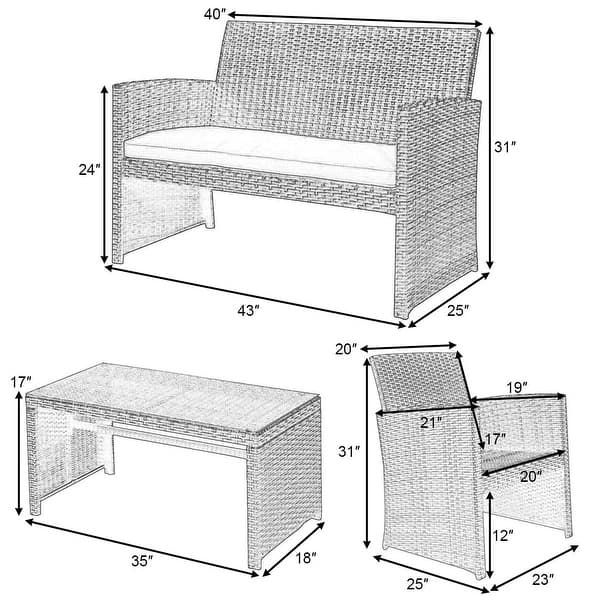 Costway 4 Pc Rattan Patio Furniture Set Garden Lawn Sofa Cushioned