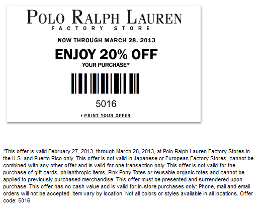 ny design nya utgåvan grossist- Extra 20% off at Polo Ralph Lauren Factory locations coupon via ...