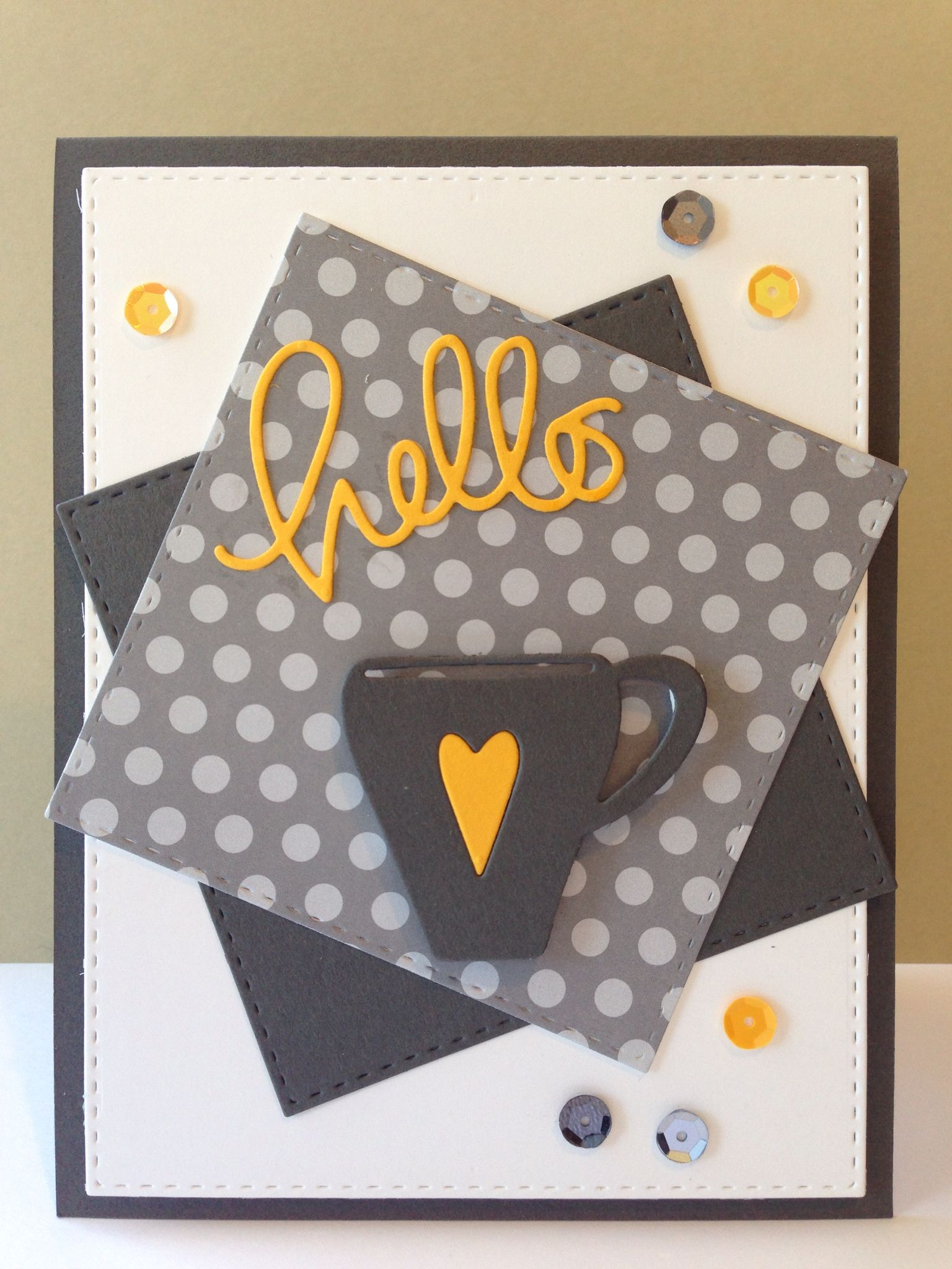 #SSSFAVE- Small Hello, Coffee Cup, Stitched Rectangles & Squares Dies, Slate Cardstock - March 2015