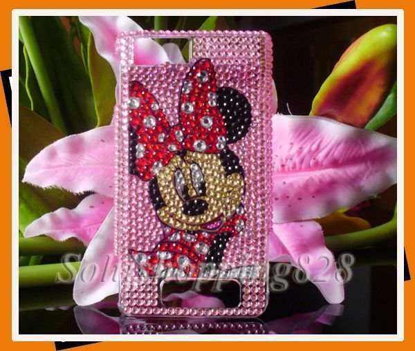 New Cute Pink Minnie Bling Hard Protect Case Cover For Motorola Droid X MB810