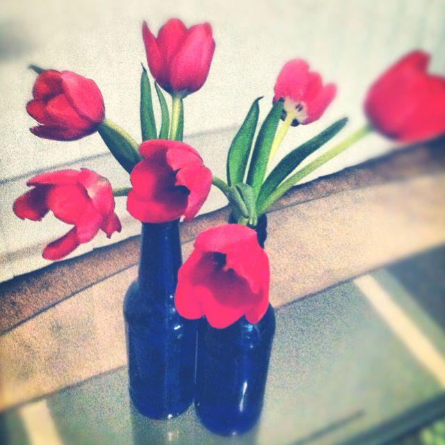 Pretty bottle vases!