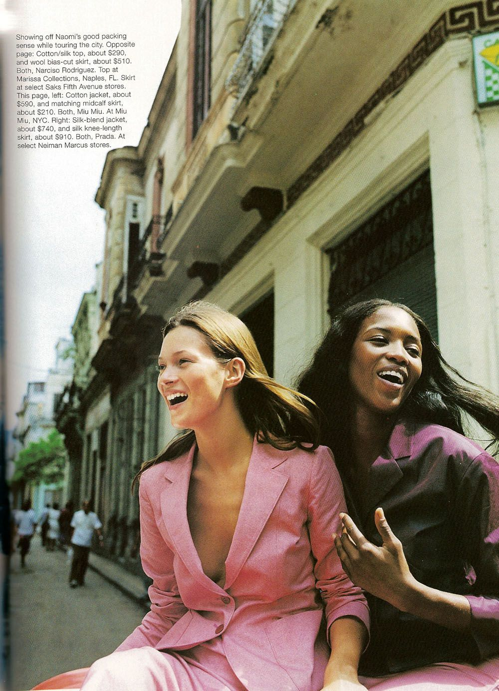 Kate Moss & Naomi Campbell | Photography by Patrick Demarchelier | For Harper's Bazaar US | May 1998