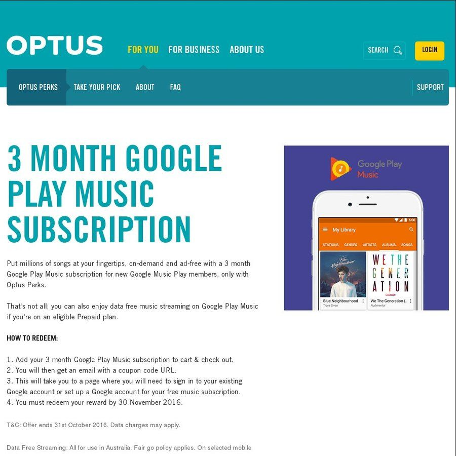 Free 3 Month Google Play Music Subscription [Optus Customers Only]