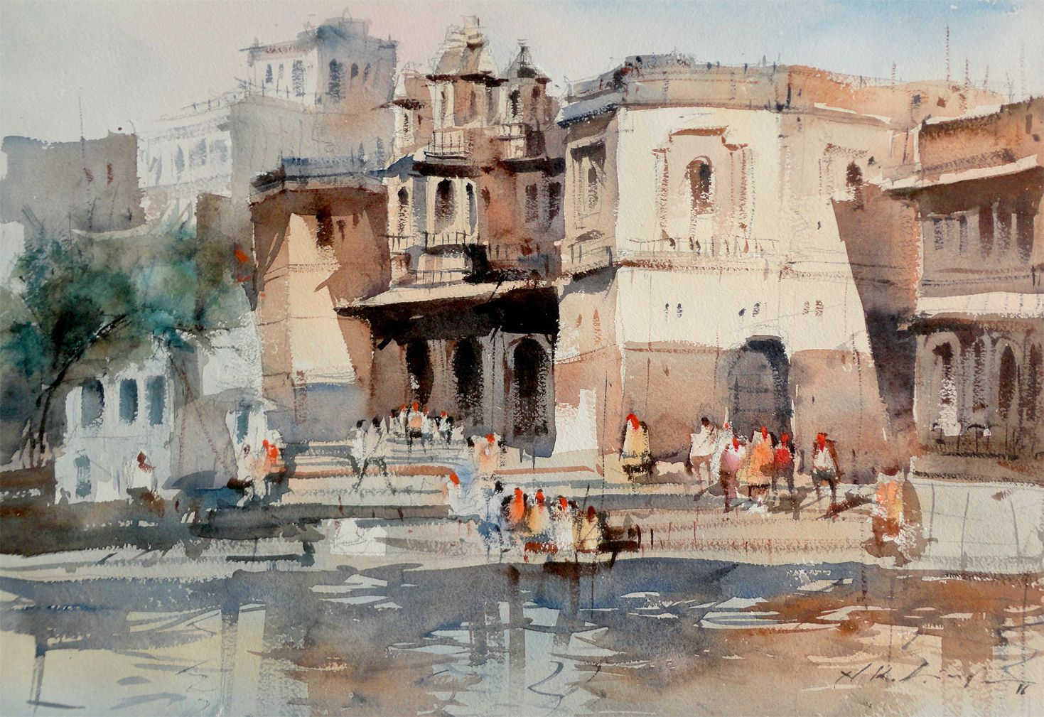 History of watercolor art - Watercolor Artists Artist Painting Watercolor Paintings Watercolour Udaipur Urban Landscape Online Art Cityscapes Lakes