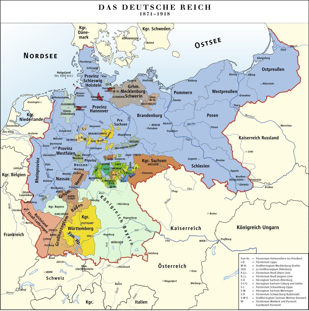 Current Map Of Germany.Prussia C 1871 1918 Under Bismarck S Unification C 1871 See