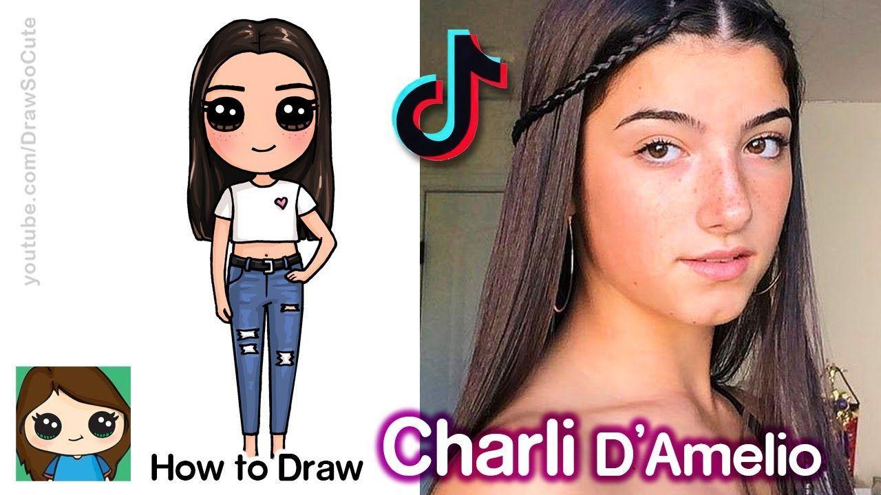 Tik Tok Hairstyles How To Draw Charli Damelio Tik Tok Star In 2020 Cute Easy Drawings Kawaii Girl Drawings Cute Kawaii Girl