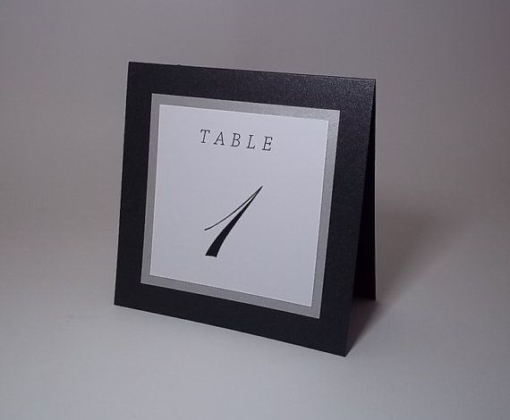Black Silver and White Tent Wedding Table Number by xARTinosCosmos