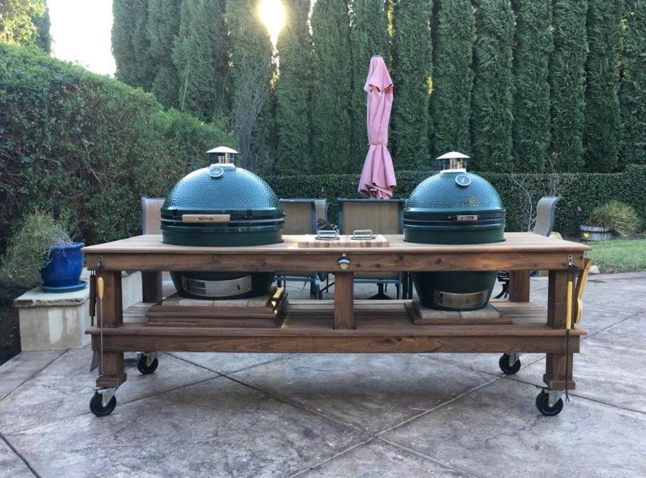 Standard Double Table Big Green Egg Table Plans Kamado Grill