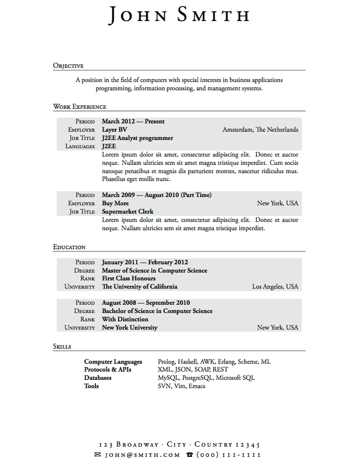 sample resume - Resume Work Experience Format