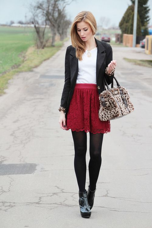 Winter outfit... love the skirt
