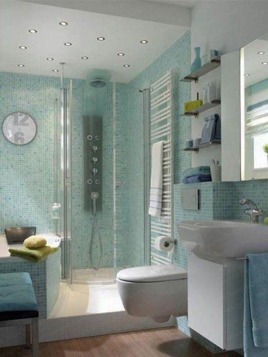 Small-bathroom Love the recessed lighting over the shower stall and