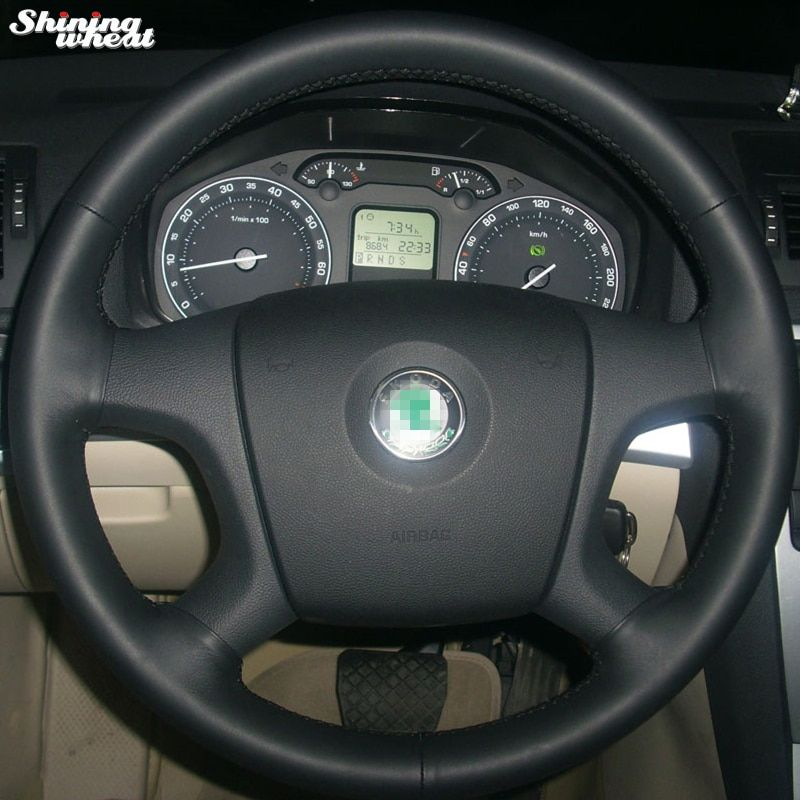 Shining Wheat Hand Stitched Black Leather Steering Wheel Cover For