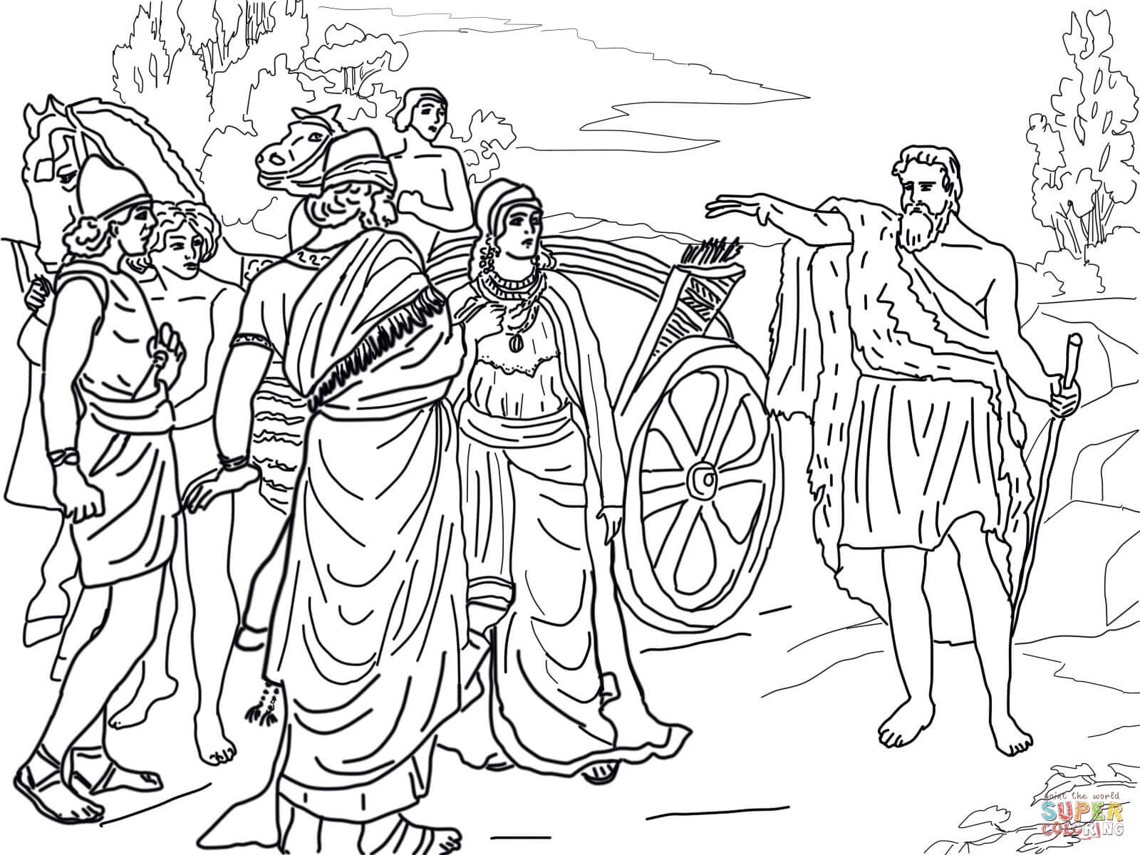 Jezebel And Ahab Meeting Elijah In Naboth S Vineyard Coloring Page