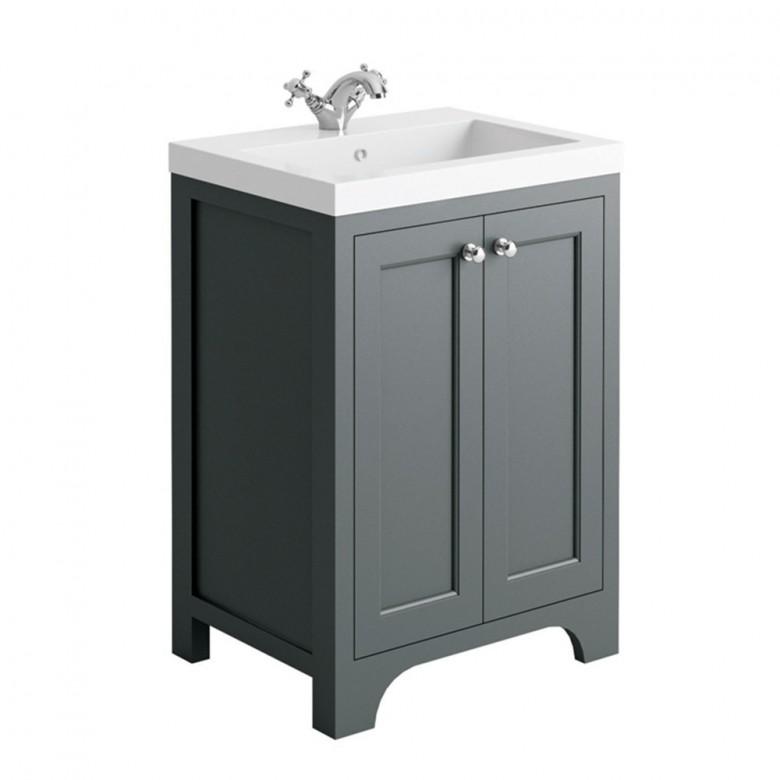 Butler & Rose Benedict 600mm Floorstanding Vanity Unit & Basin - Spa Grey