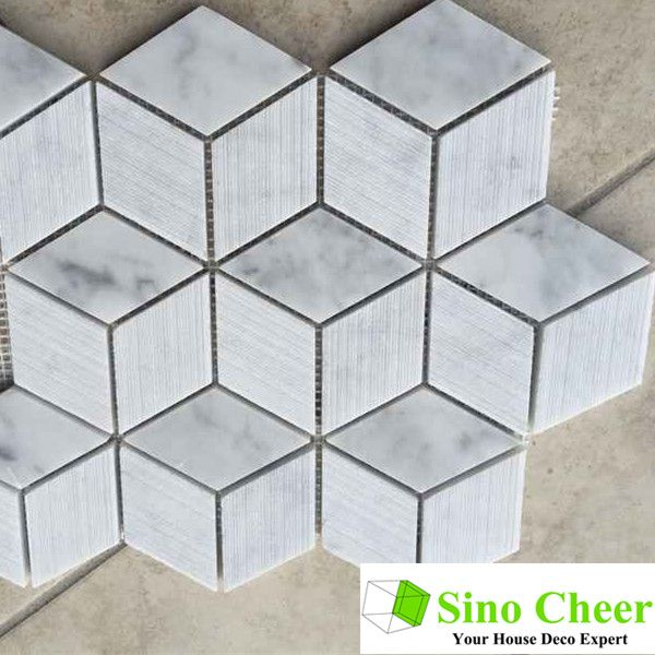 Polished Cube 3d Italian Carrara Hexagon White Marble Mosaics And Tiles For Kitchen Find Complete Detai White Marble Hexagon Rhombus Tile White Marble Mosaic