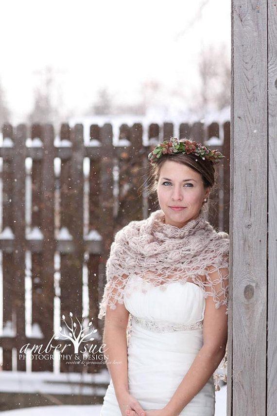 Wedding Shawl Beige Bridal Shrug Crochet By MODAcrochet