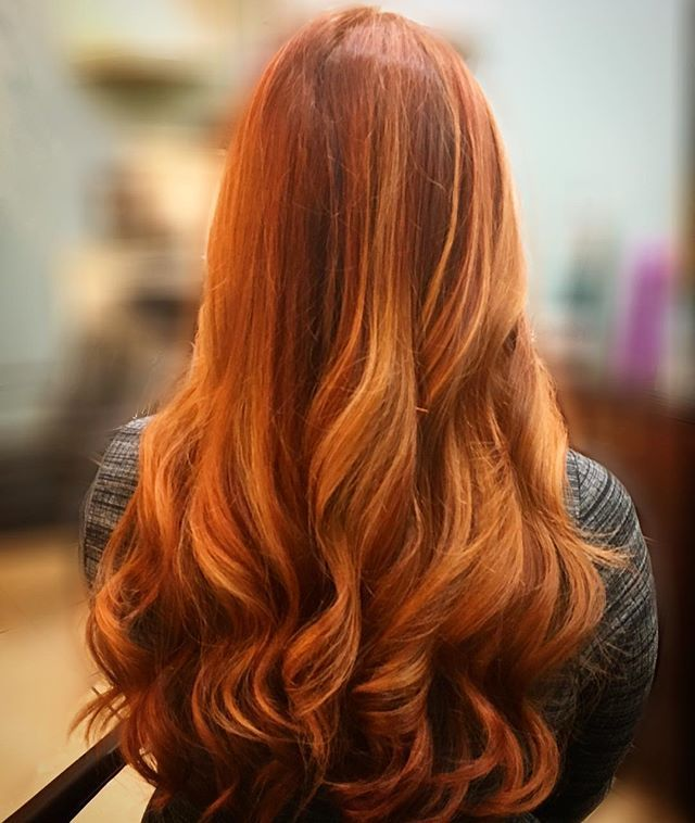 Here is a beautiful copper red balayage with copper blonde ...