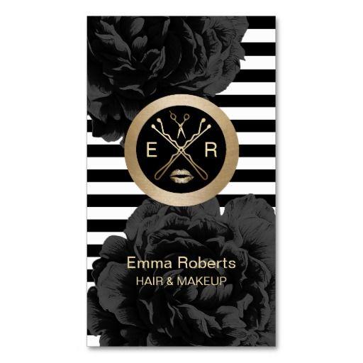 Makeup Artist & Hair Stylist Modern Stripes Floral Standard Business Card