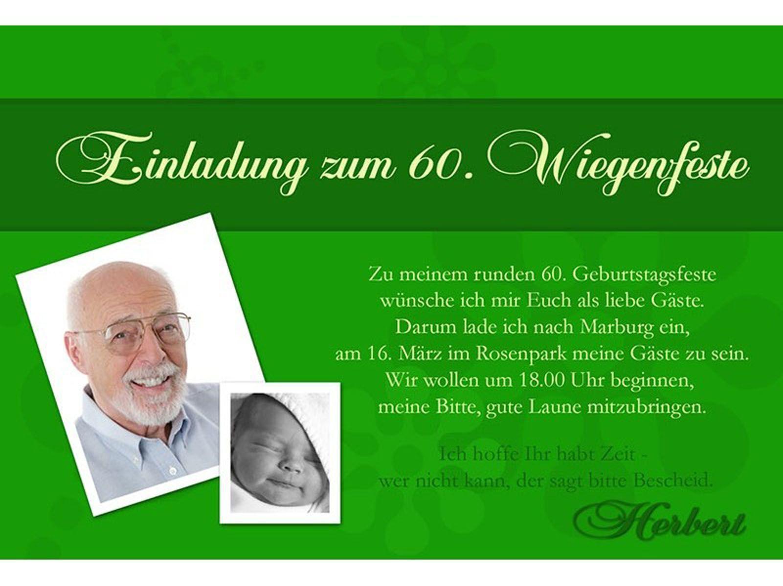 Einladungskarte Zum 60 Geburtstag Vorlagen