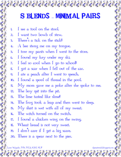 S Blends - Minimal Pairs in Sentences. Free! Repinned by SOS Inc ...