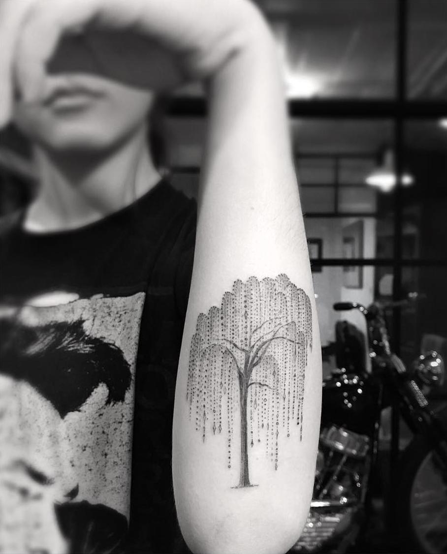 willow tree by Dr Woo Filigree tattoo, Tattoos