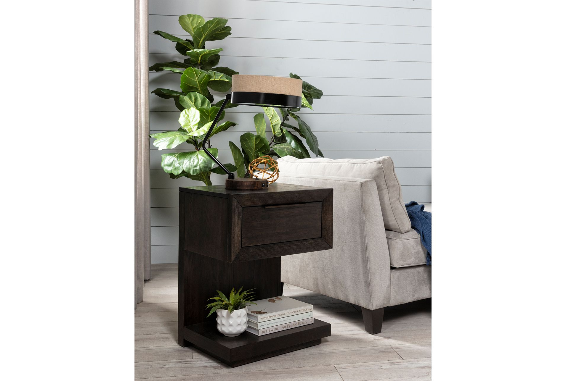 Pierce 1 Drawer Nightstand With Usb Port And Power Outlets Black