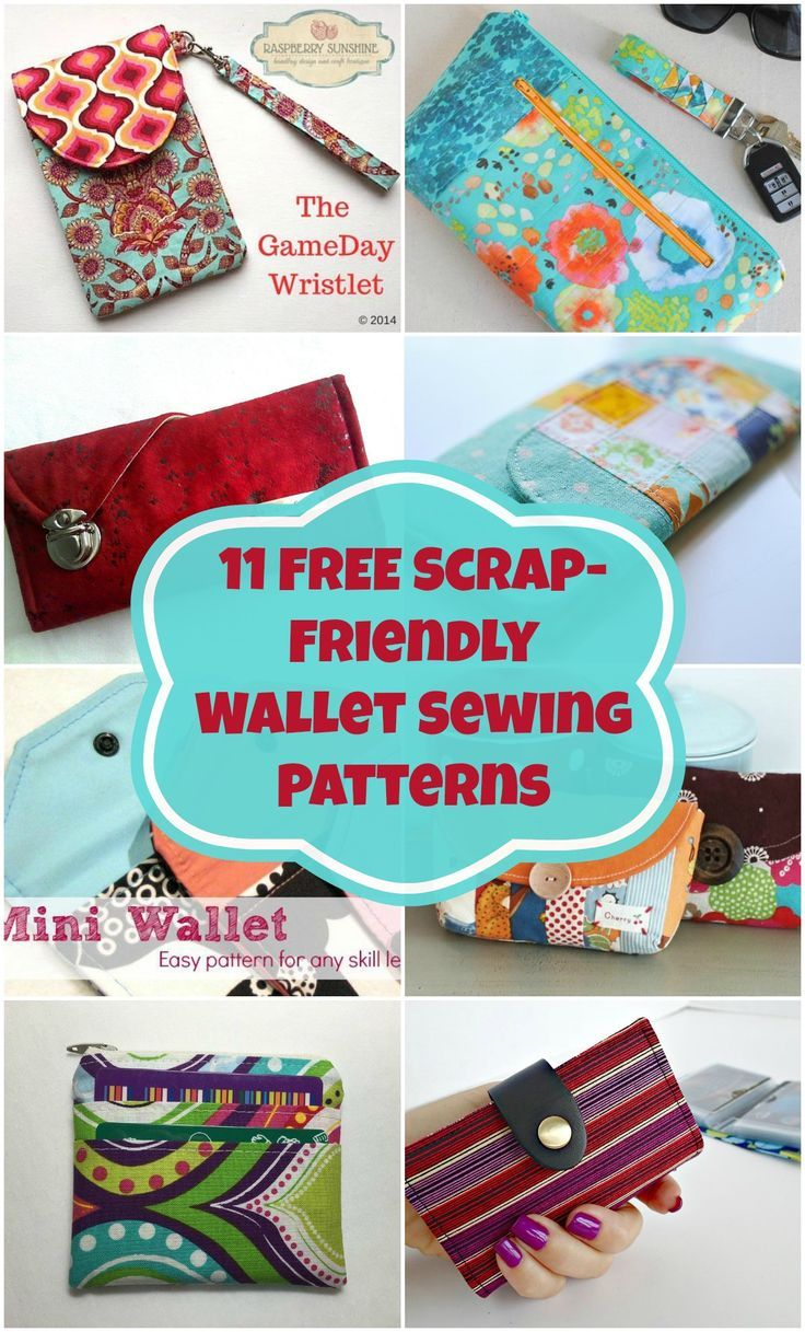 11 free wallet sewing patterns  All scrap friendly, easy to sew with