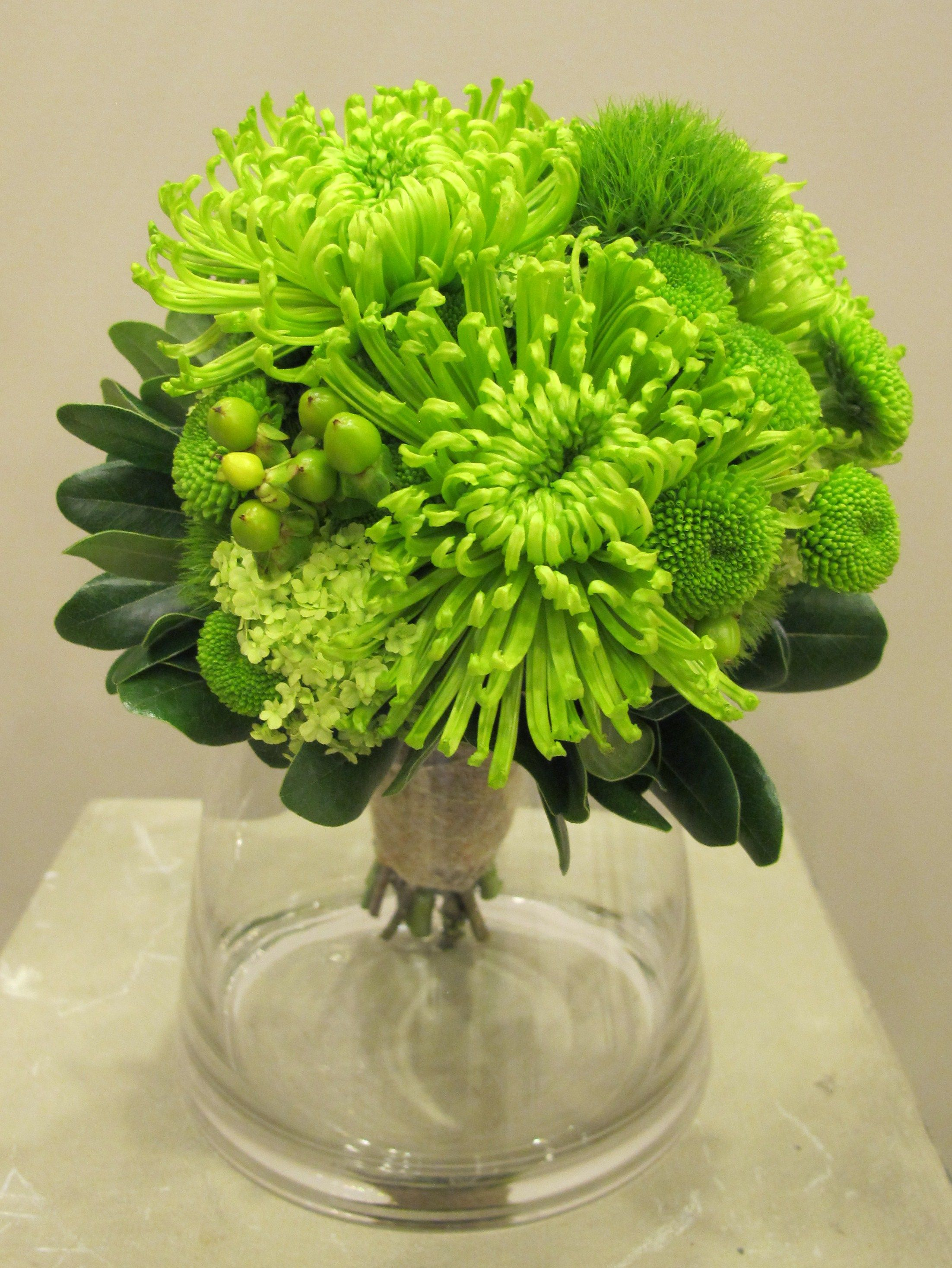 Lime Green Bridal Bouquet Chrysanthemum(spider