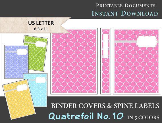 Printable Quatrefoil Binder Covers  Spine Label Inserts - printable binder spine labels