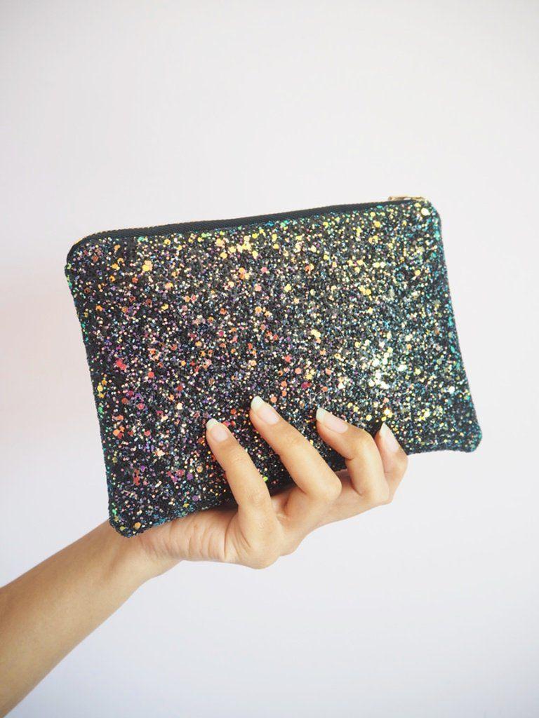 Midnight Glow Iridescent Glitter Makeup Bag Glitter Bag Glitter