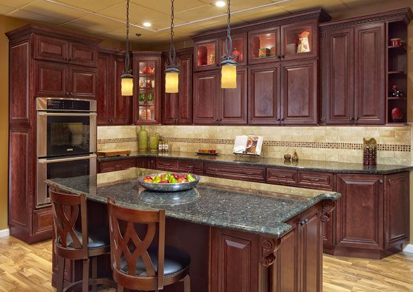 Love These Cherry Stained Maple Cabinets With Mitered Corners Lights Inside Gl Matching Interior Shelves Corbels Pendant Lighting And Moldings