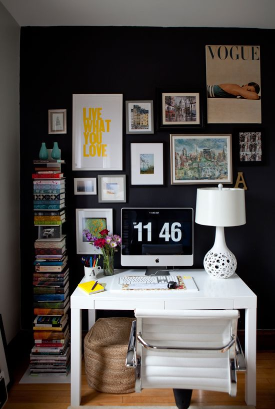 Lcy Home Tour The Office Home Decor Office Gallery Wall Black Walls