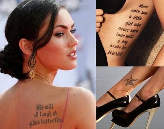 Top 10 Most Beautiful Tattooed Hollywood Celebrities Celebrity Tattoos Women Celebrity Tattoos Megan Fox Tattoo