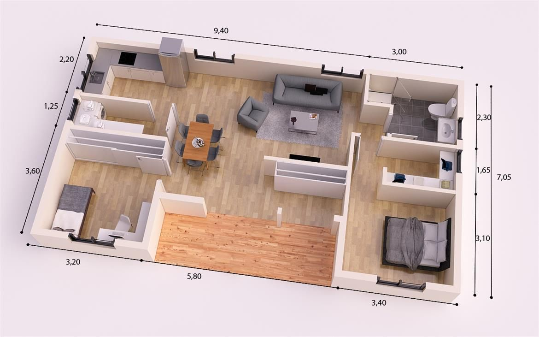 Torino donacasa 90 m2 hormig n celular con trasdosado for Apartment design 90m2