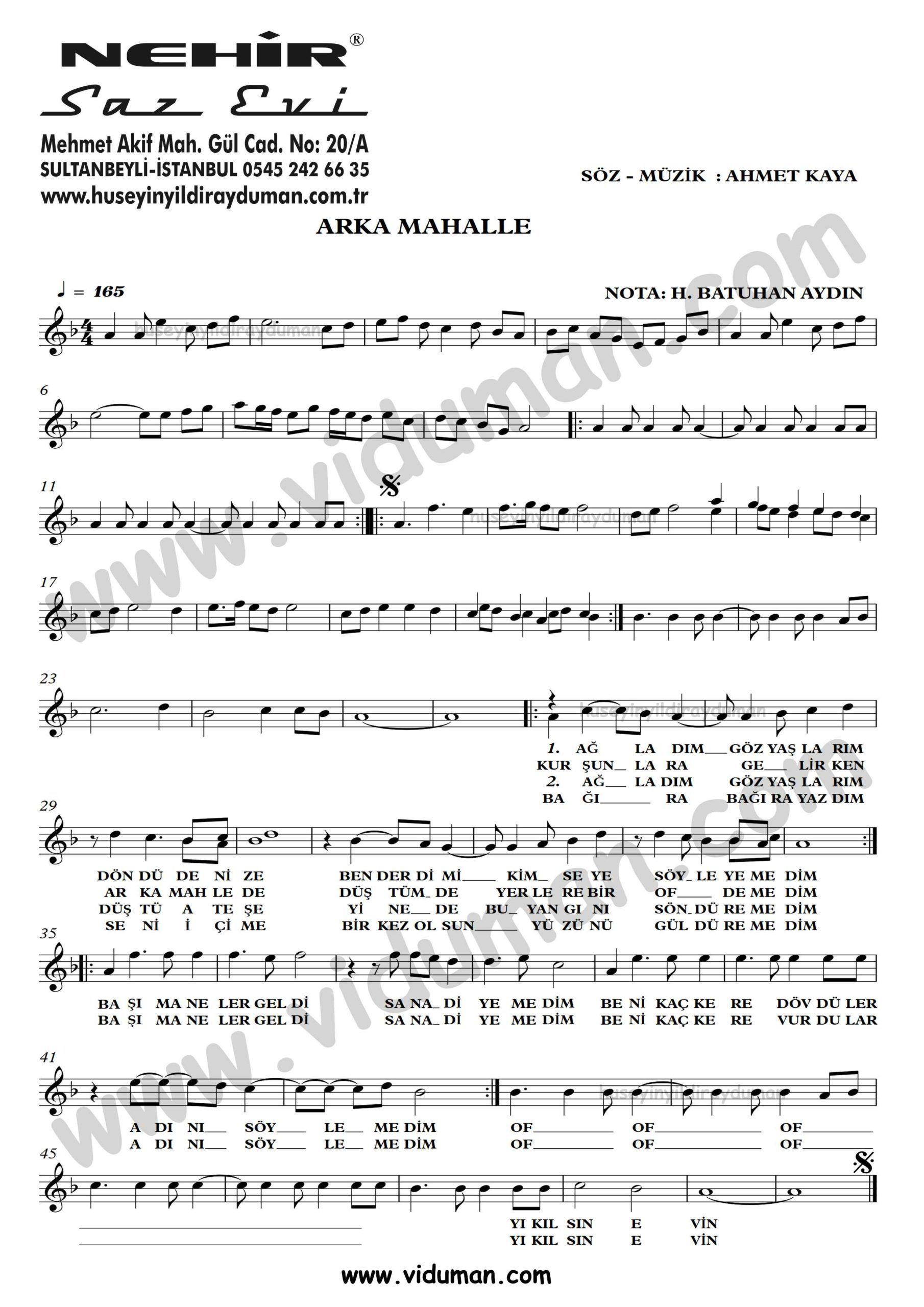 Arka Mahalle Ahmet Kaya Nota Baglama Saz Turku Notalari Muzik Notalari Muzik Videolar